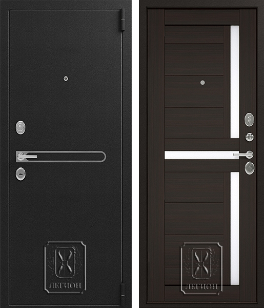 Входная дверь Легион L-3 Черный муар / Венге шоколад