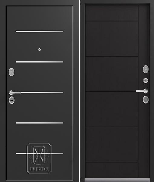 Входная дверь Легион L-2 Чёрный шёлк Венге шоколад