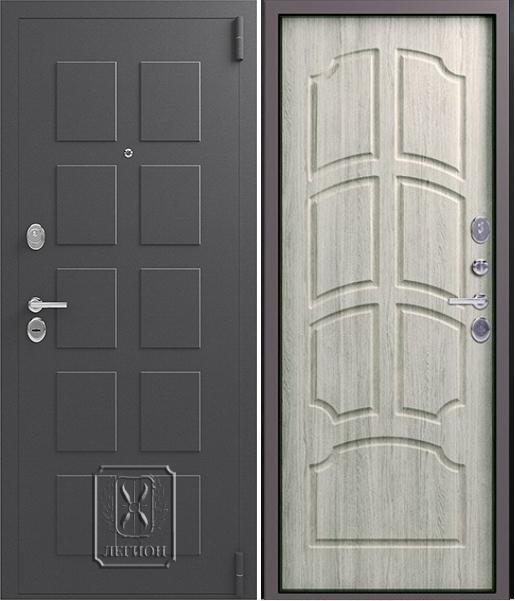 Входная дверь Легион L-5 Серый шёлк Дуб полярный