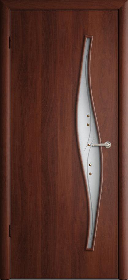 Межкомнатная дверь ПО-015 (ф) Волна Итальянский орех