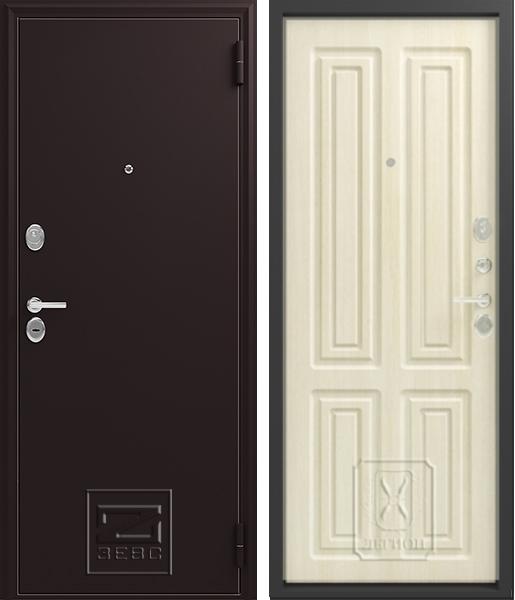Входная дверь Зевс Z6 Чёрный шёлк Лиственница светлая